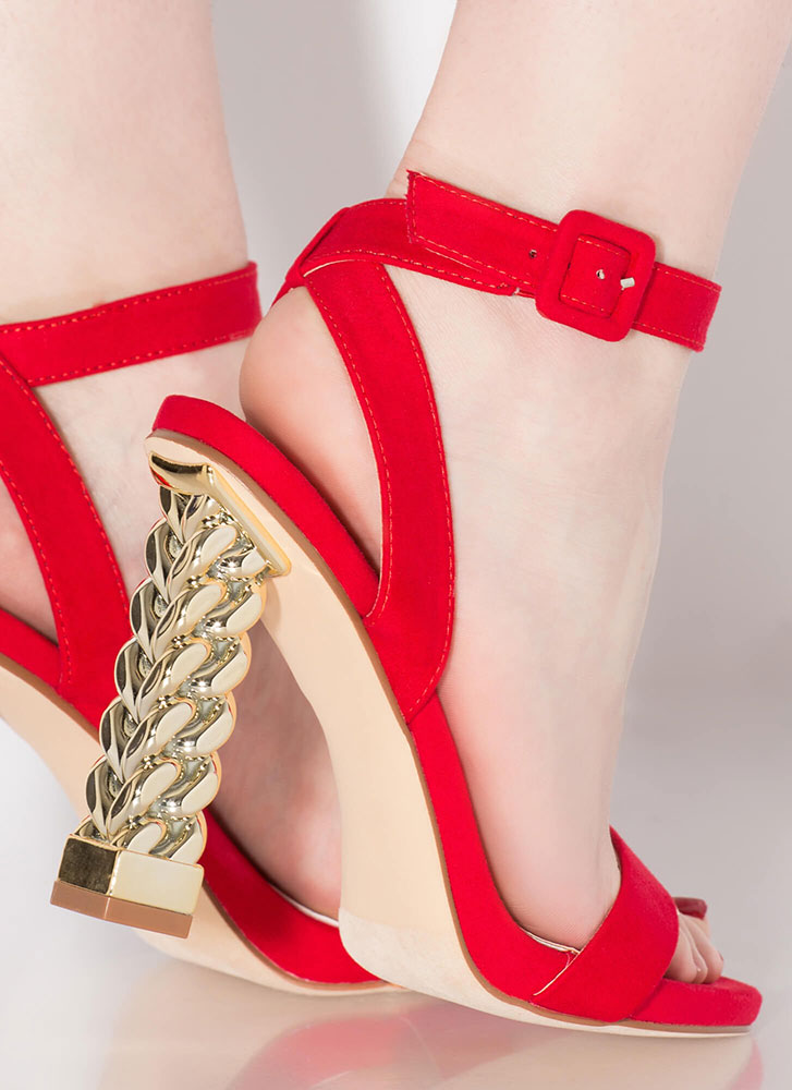 Chain Reaction Chunky Strappy Heels RED