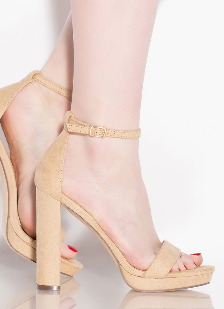 Girls Night Strappy Faux Suede Heels NUDE