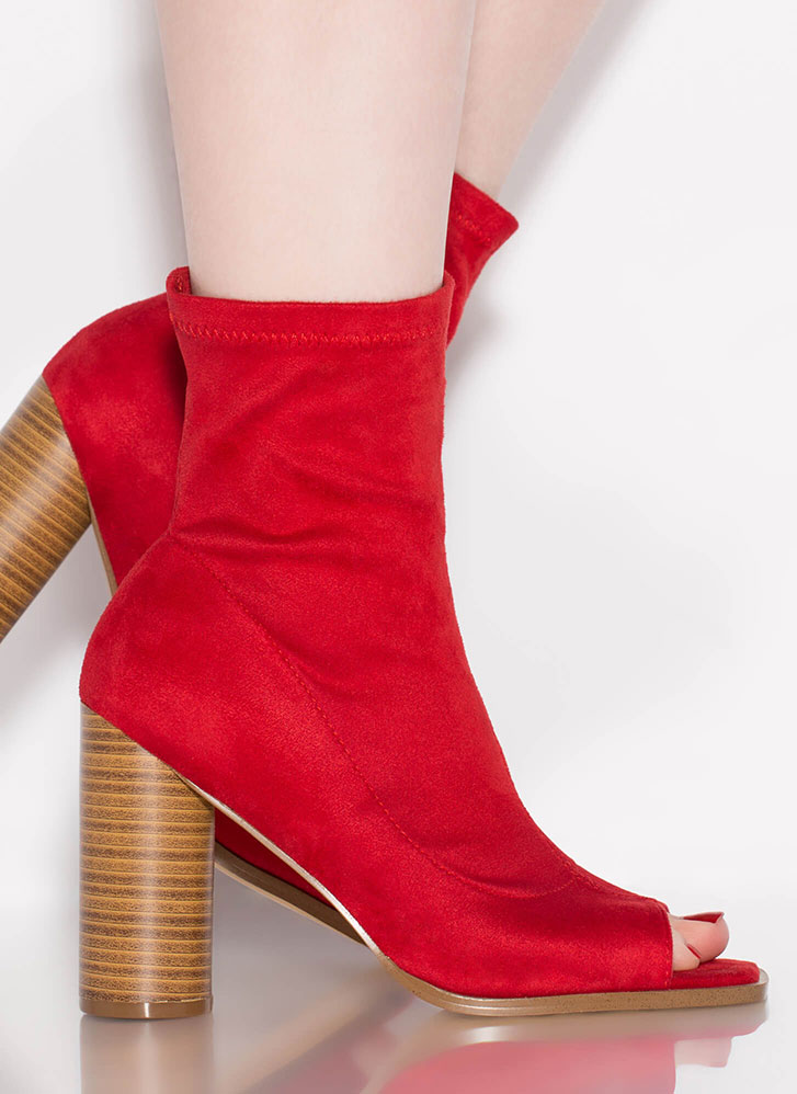 Chic-A-Boo Chunky Peep-Toe Booties RED
