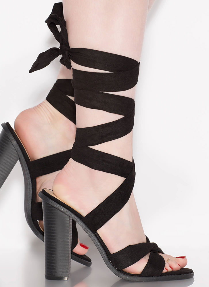 Winner's Sash Looped Lace-Up Heels BLACK