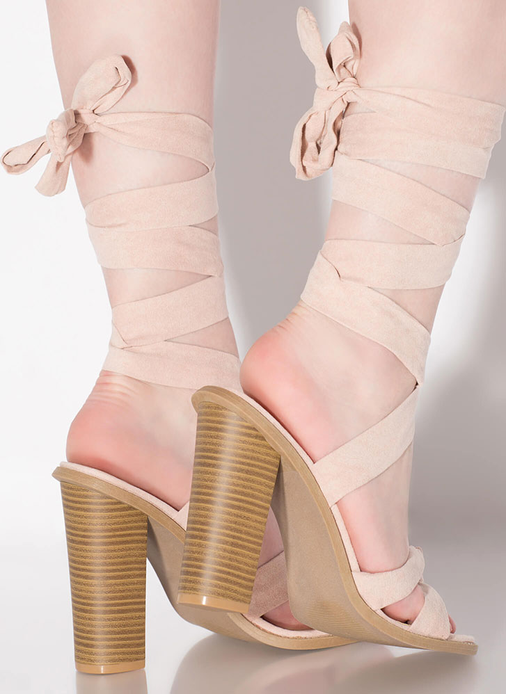 Winner's Sash Looped Lace-Up Heels NUDE