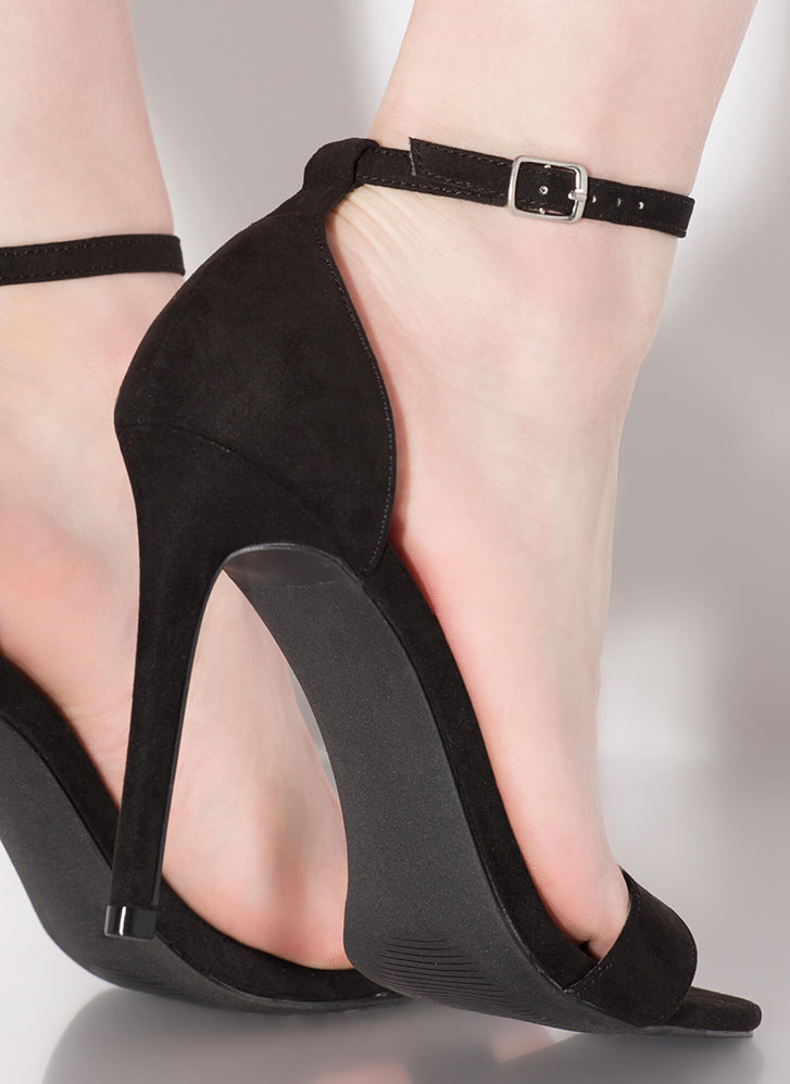 All I Need Is You Ankle Strap Heels BLACK