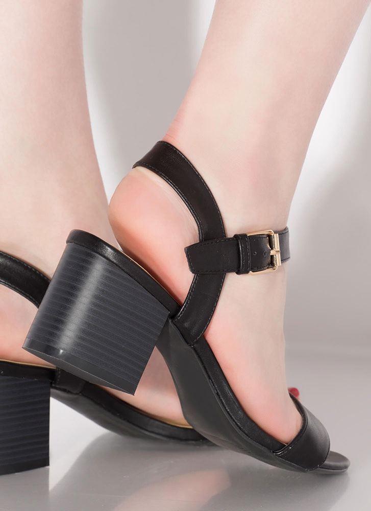Simply Chic Faux Leather Block Heels BLACK