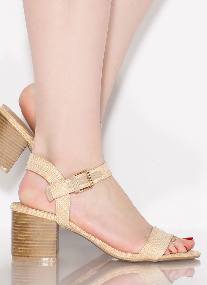 Simply Chic Woven Raffia Block Heels NATURAL