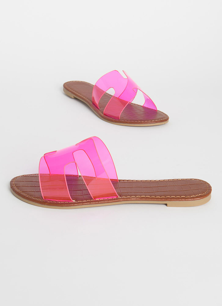 Join The Pool Clear PVC Slide Sandals NEONFUCHSIA