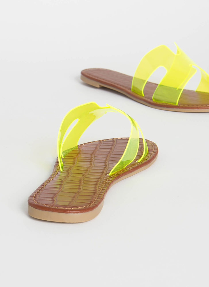 Join The Pool Clear PVC Slide Sandals NEONYELLOW