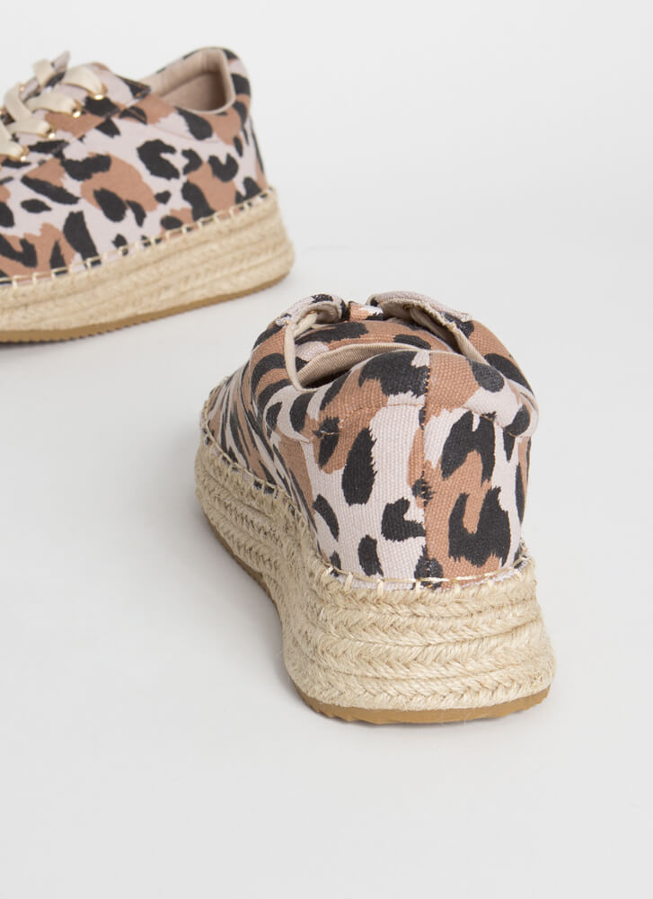 Spot Me Braided Leopard Sneakers TOFFEE