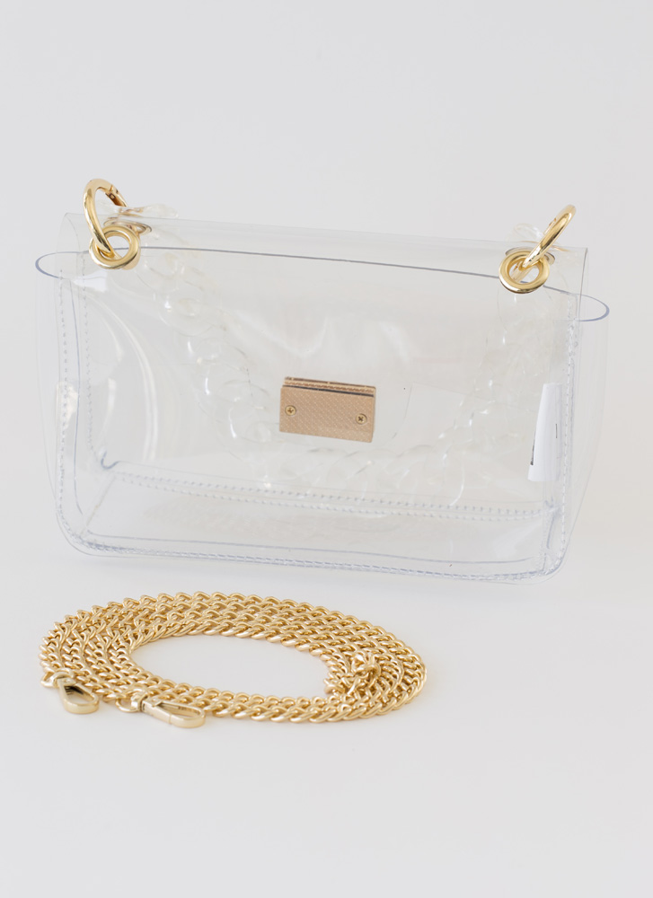 It's Becoming So Clear Chain Strap Purse CLEAR