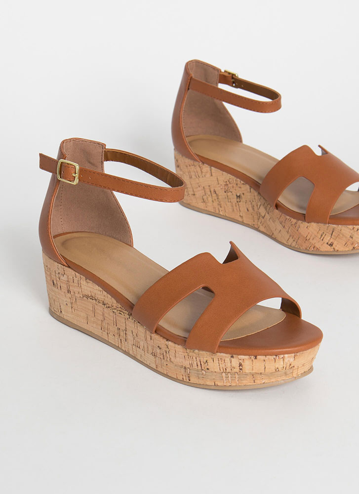 Cabo Faux Leather Cork Wedge Sandals TAN