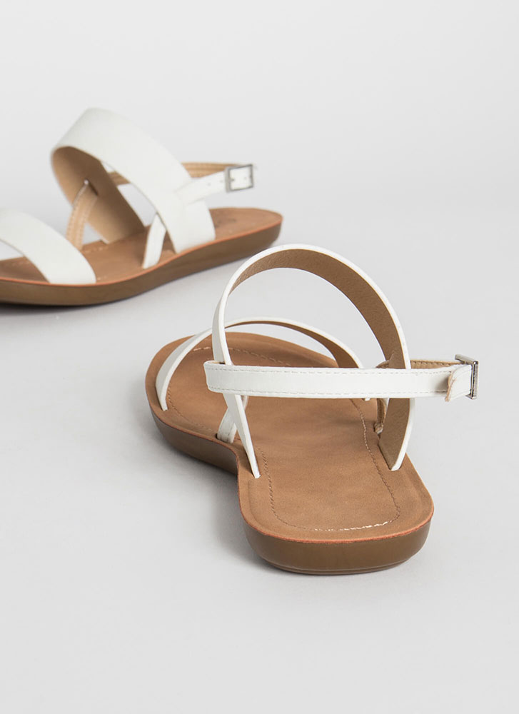 Boardwalk Strappy Faux Leather Sandals OFFWHITE