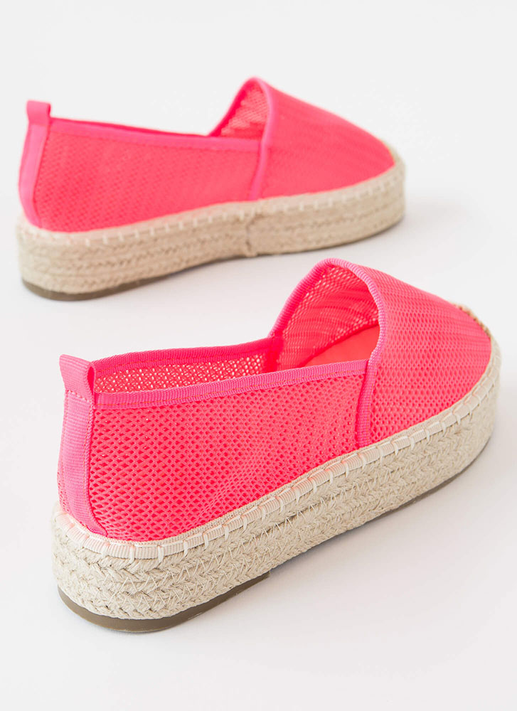 Easy Feet Braided Mesh Moccasin Flats HOTPINK
