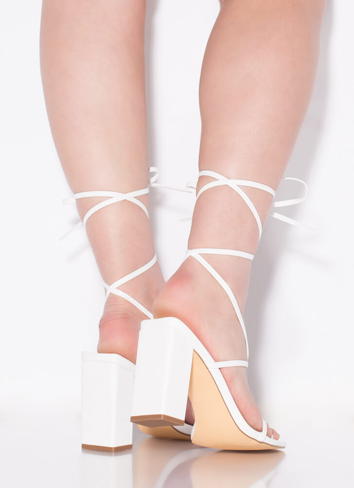 Thong Number Chunky Lace-Up Heels WHITE