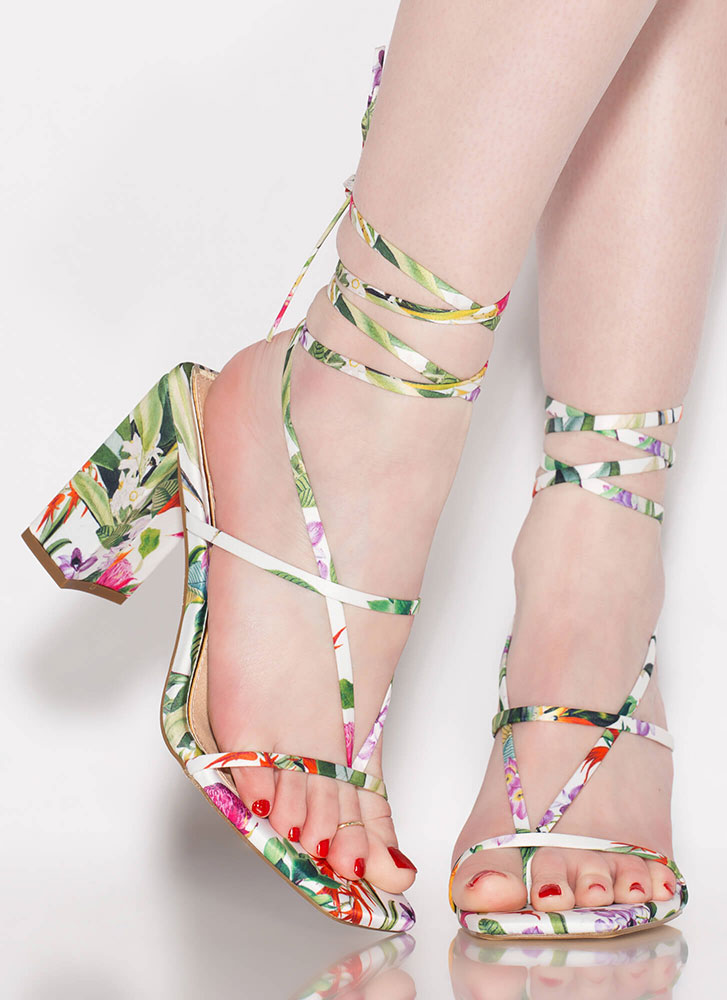 Thong Number Chunky Floral Lace-Up Heels MULTI