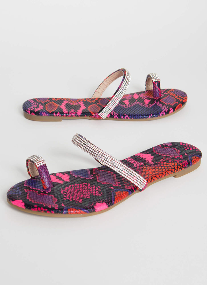 Toes Out Jeweled Strap Snake Sandals PINK