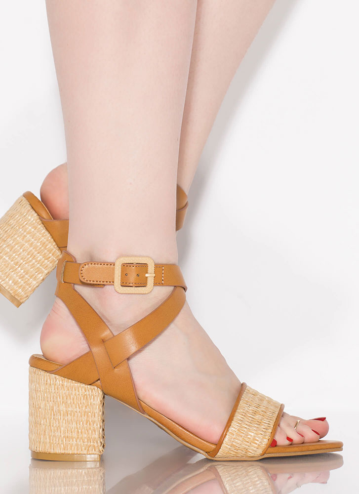 Natural Selection Woven Wicker Heels TAN