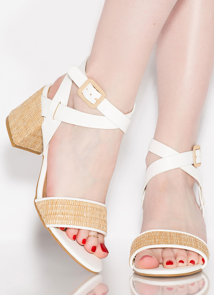 Natural Selection Woven Wicker Heels WHITE