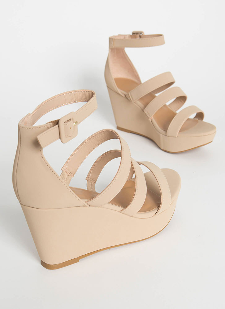One Look Strappy Platform Wedges NUDE