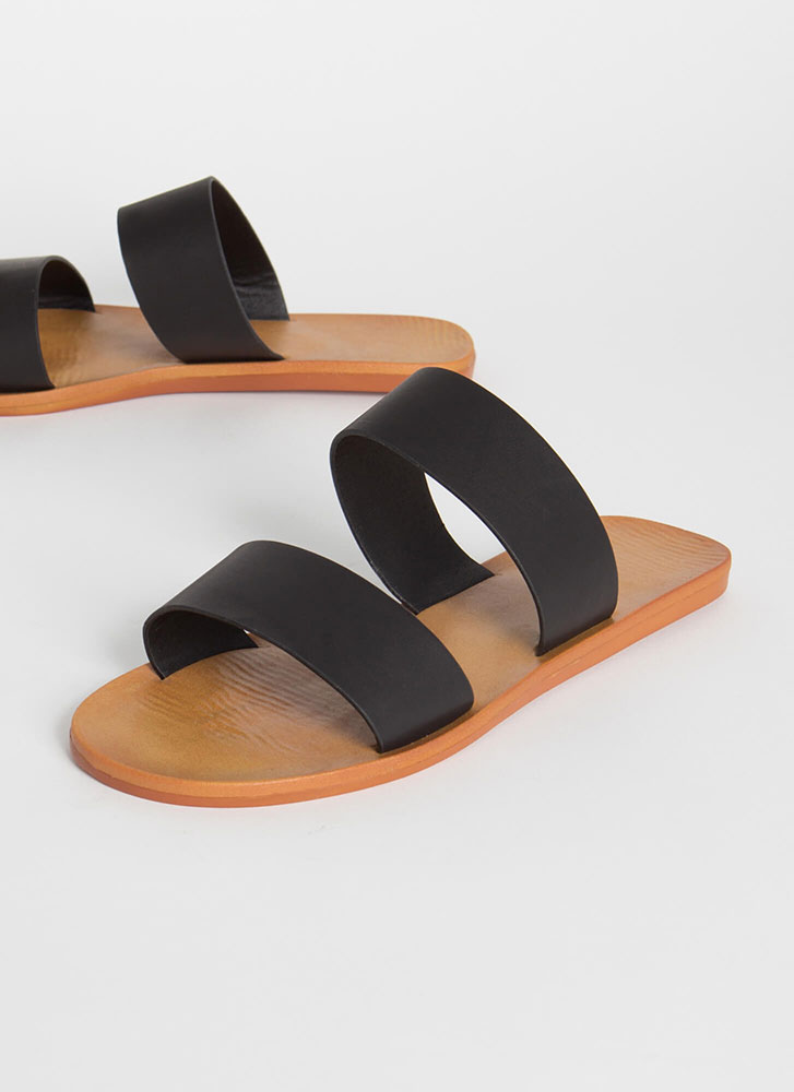 Bonfire Faux Leather Slide Sandals BLACK