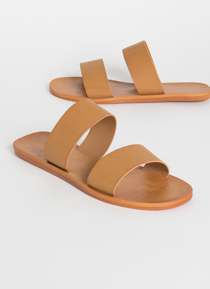 Bonfire Faux Leather Slide Sandals TAN