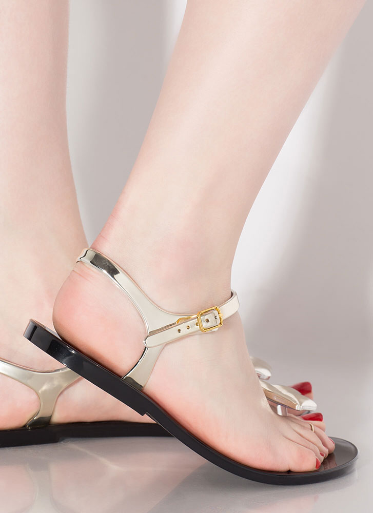 Mouth Off Glossy Jelly Sandals BLACK