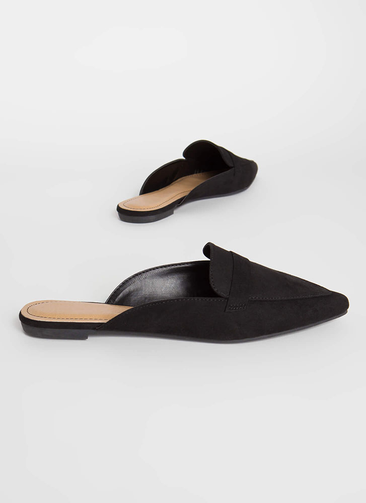 Business Or Pleasure Strapped Mule Flats BLACK