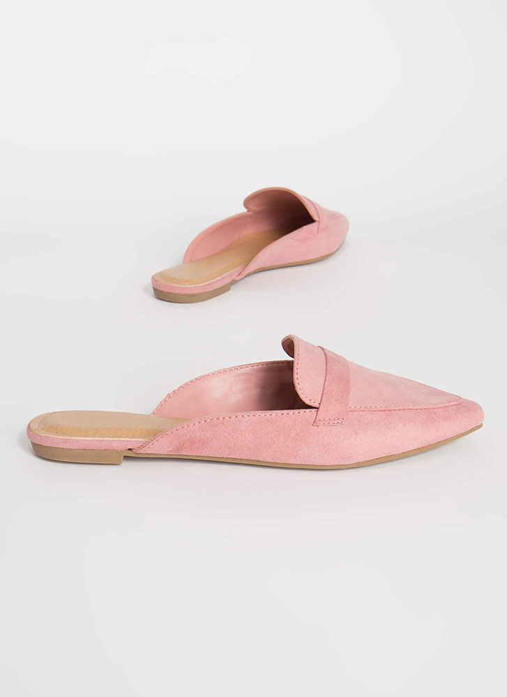 Business Or Pleasure Strapped Mule Flats BLUSH