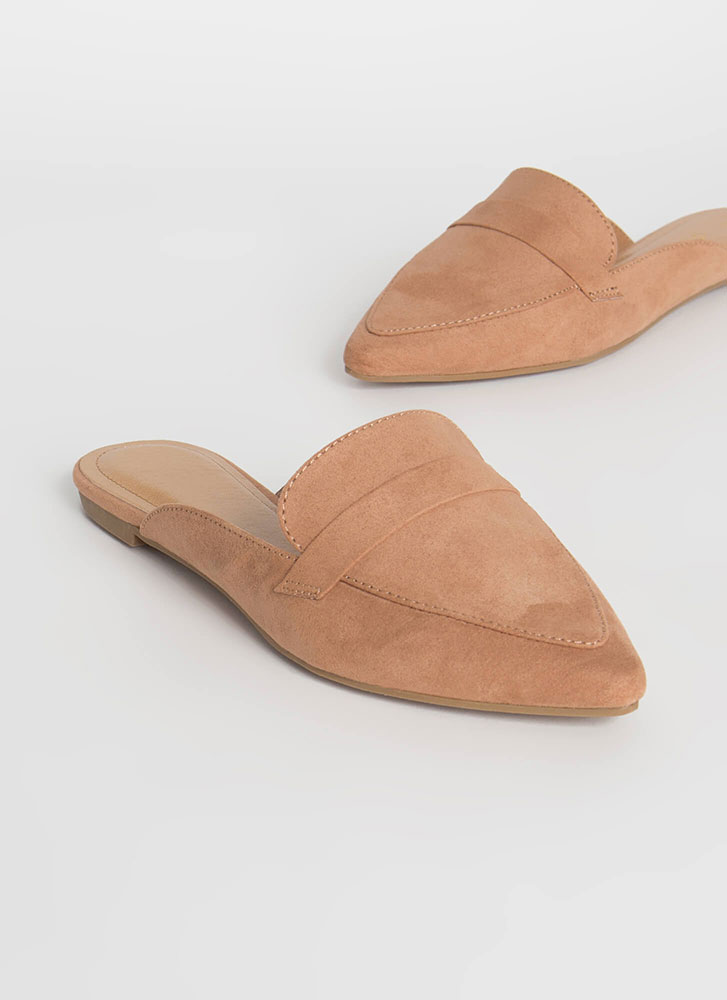 Business Or Pleasure Strapped Mule Flats CAMEL