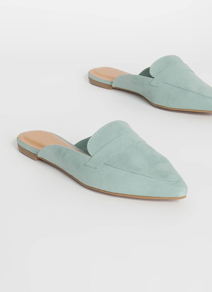Business Or Pleasure Strapped Mule Flats SAGE