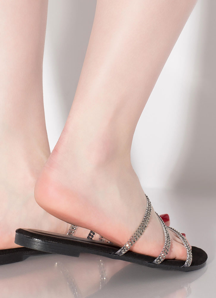 3 And Clear Jewel Strap Sandals BLACK
