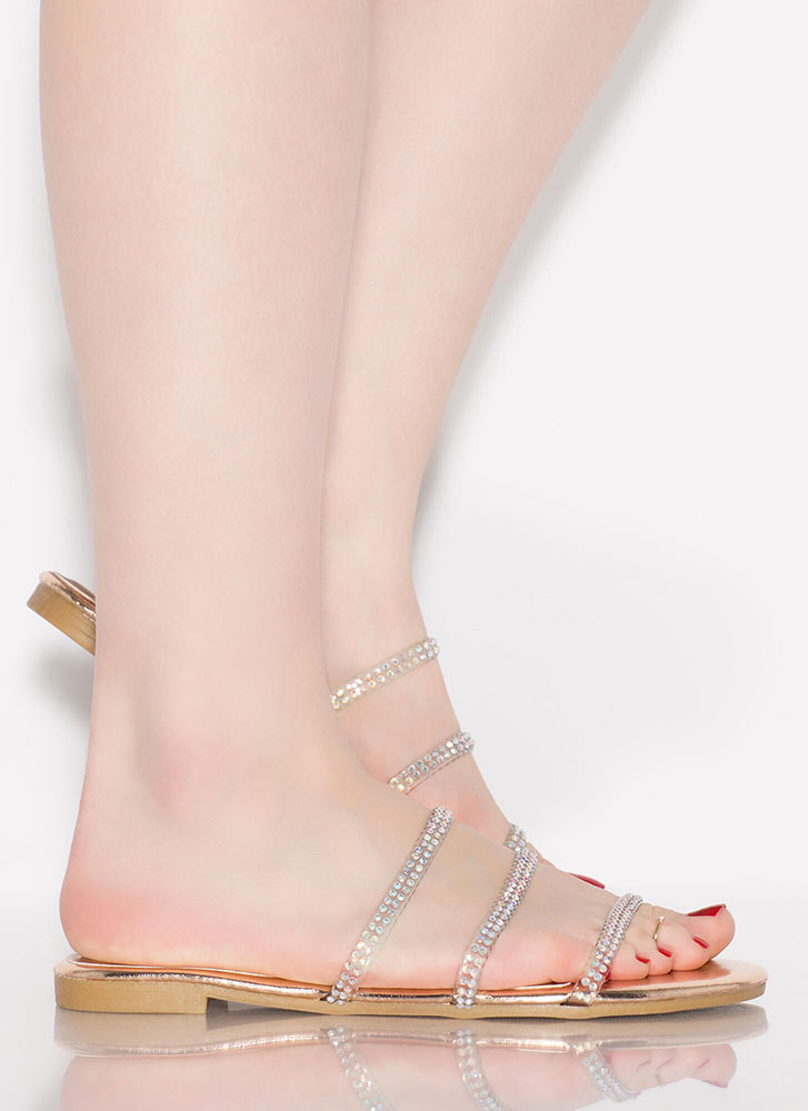 3 And Clear Metallic Jewel Strap Sandals ROSEGOLD