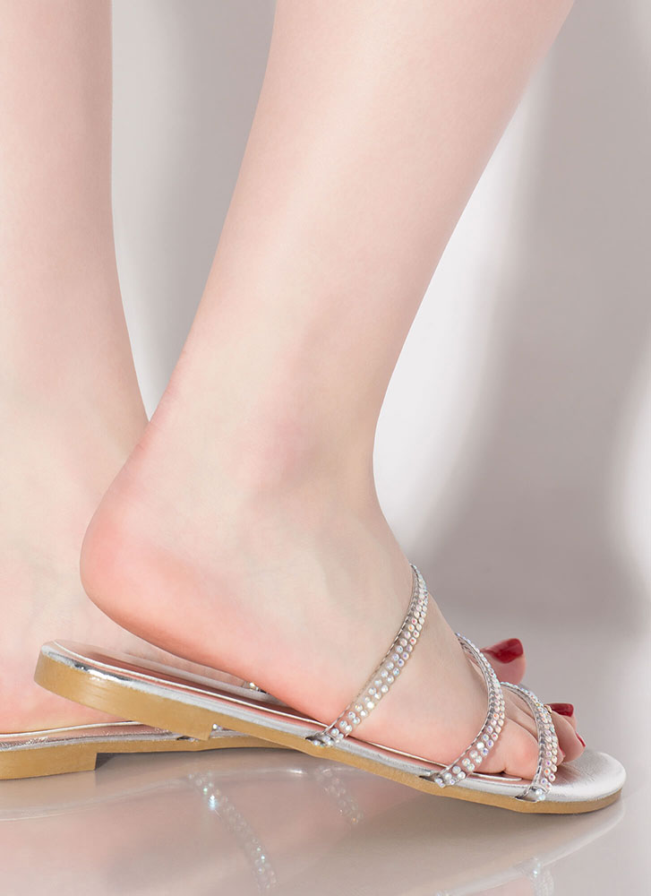 3 And Clear Metallic Jewel Strap Sandals SILVER