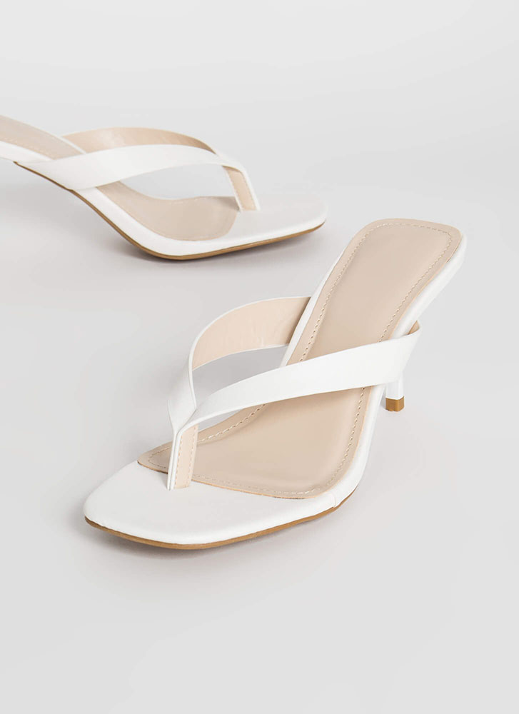 Flip-Flop Faux Leather Thong Heels WHITE
