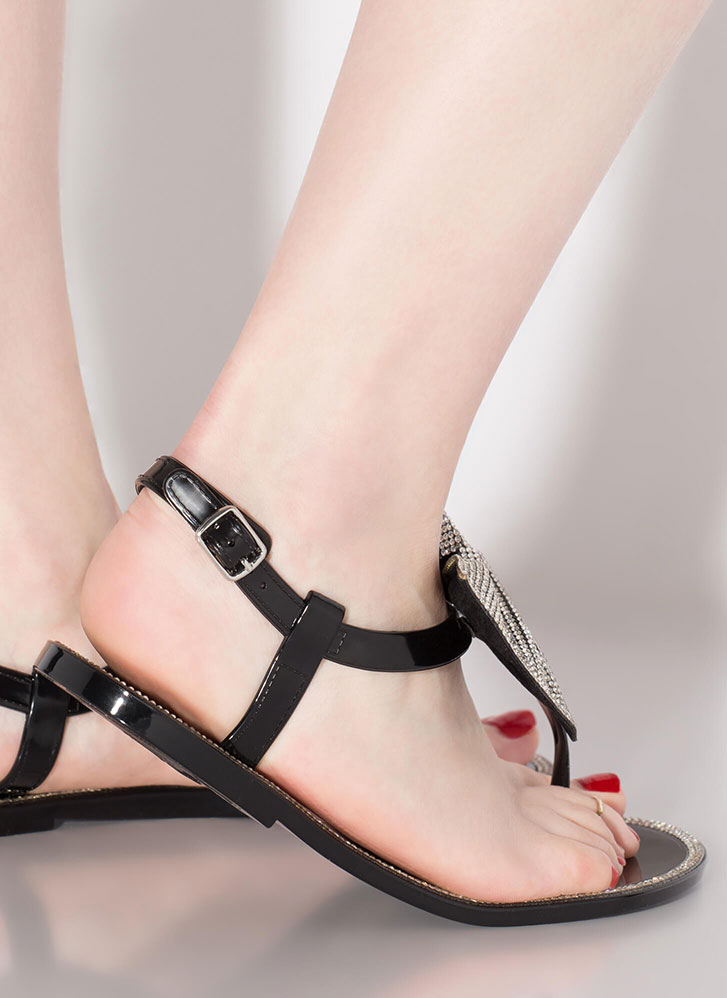 Bow Pro Jeweled Jelly T-Strap Sandals BLACK