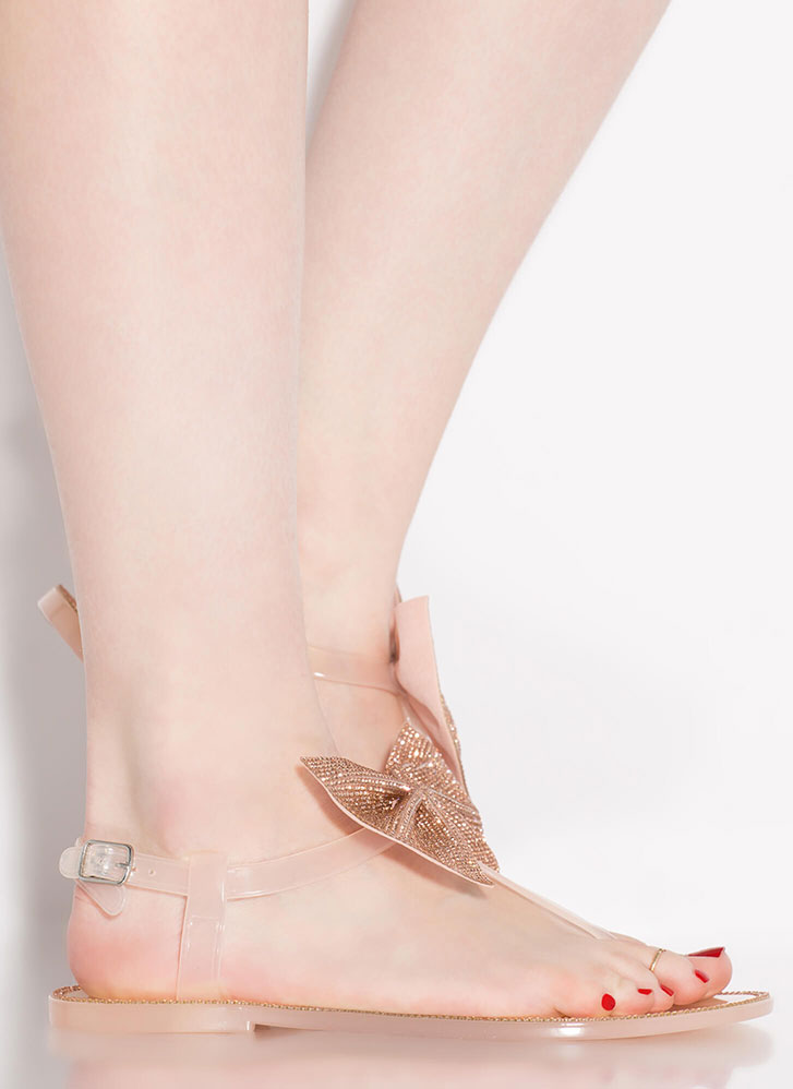 Bow Pro Jeweled Jelly T-Strap Sandals NUDE