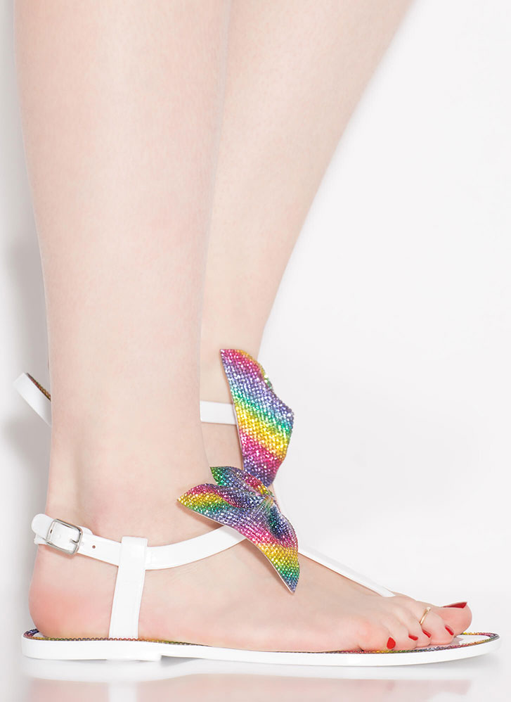 Bow Pro Jeweled Jelly T-Strap Sandals WHITE