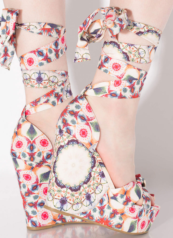 Follow The Pattern Lace-Up Print Wedges BLUSH