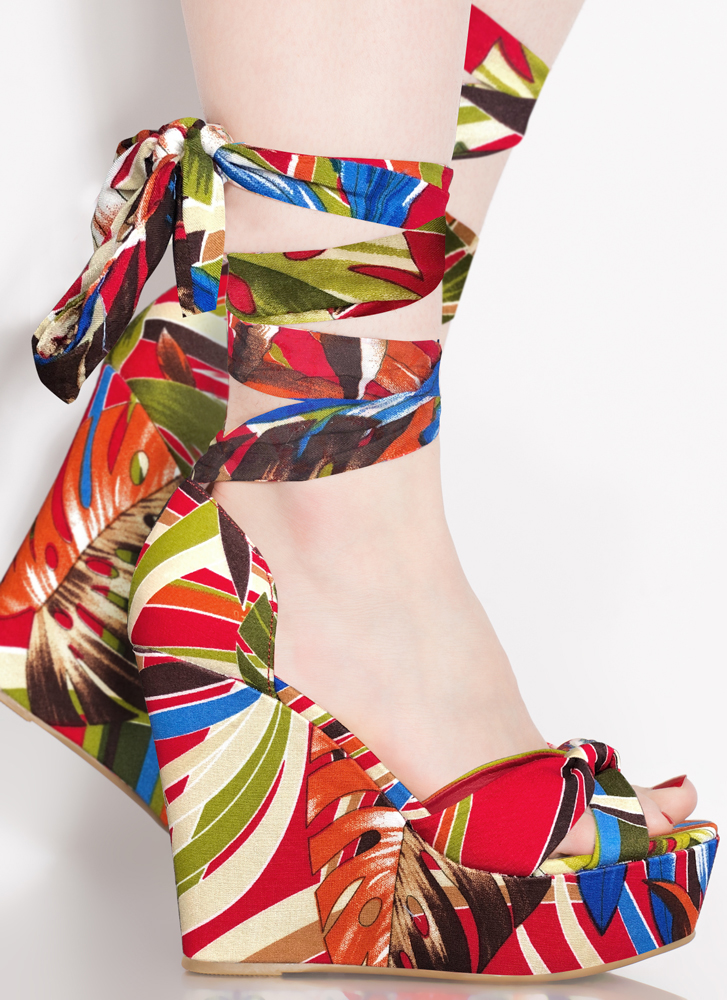Follow The Pattern Lace-Up Print Wedges RED