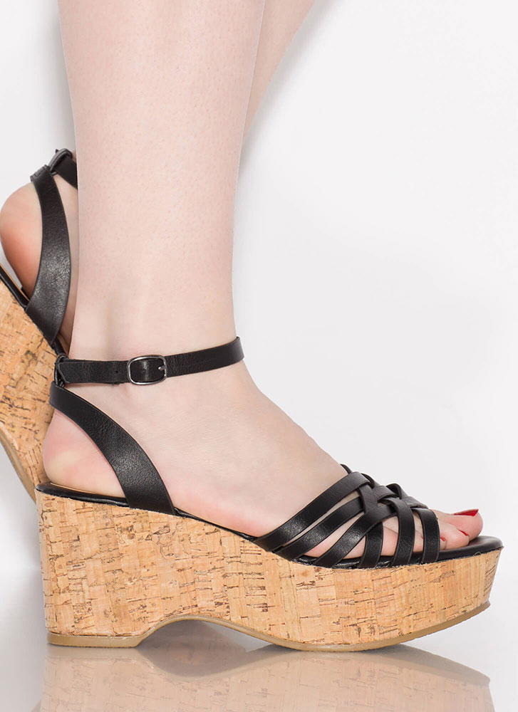 Day In And Day Out Strappy Cork Wedges BLACK