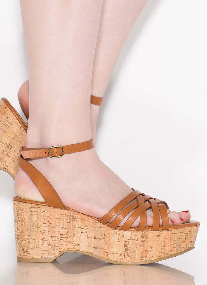 Day In And Day Out Strappy Cork Wedges TAN