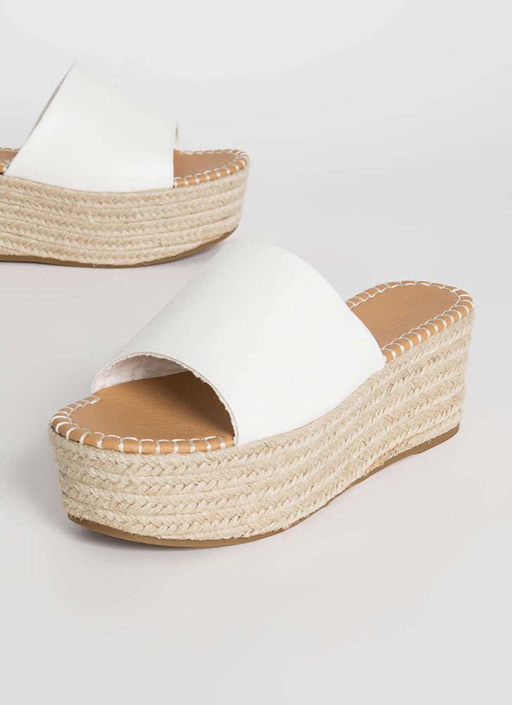 Let It Slide Faux Leather Wedge Sandals WHITE
