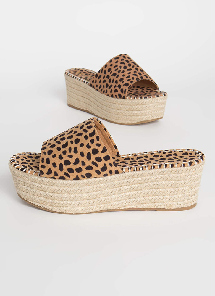 Let It Slide Cheetah Print Wedge Sandals CHEETAH