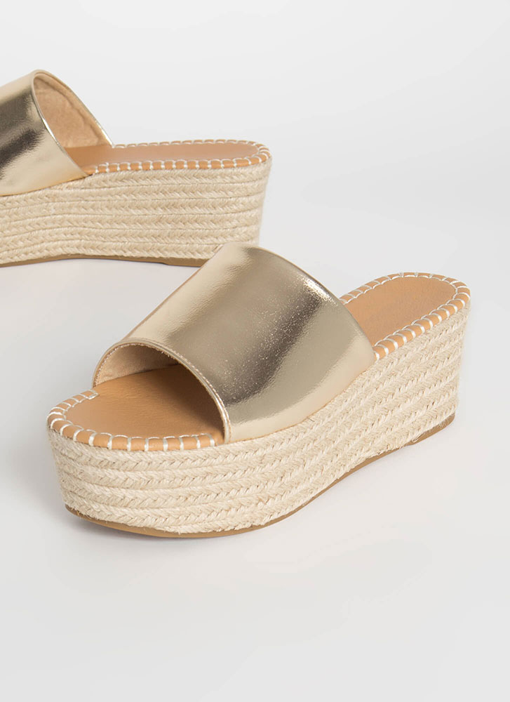 Let It Slide Metallic Wedge Sandals GOLD