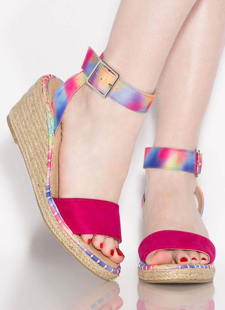Margarita Braided Tie-Dye Wedges FUCHSIA