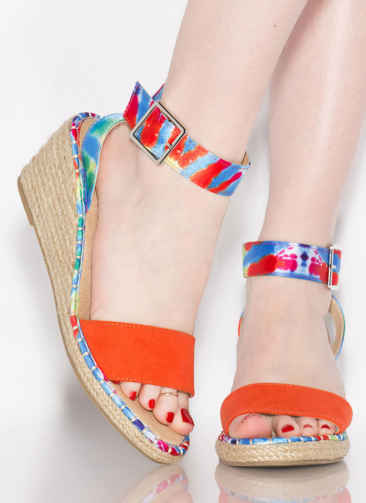 Margarita Braided Tie-Dye Wedges ORANGE