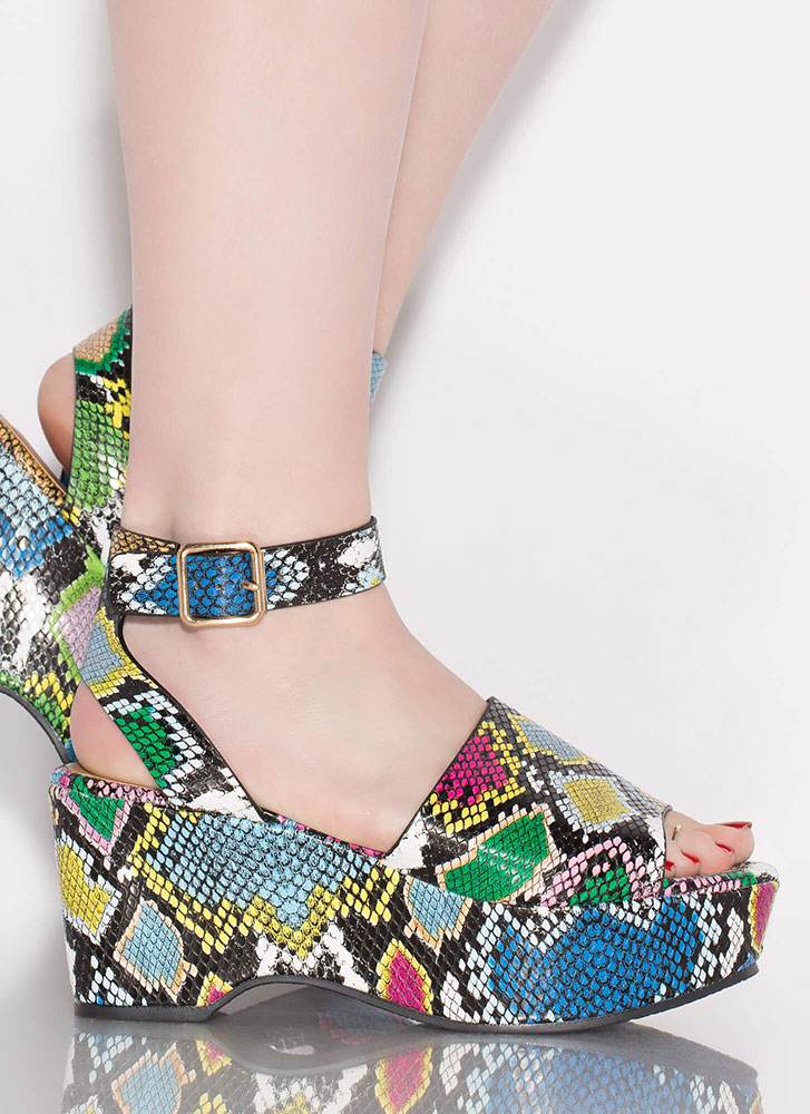 Day Date Snake Print Ankle Strap Wedges MULTI