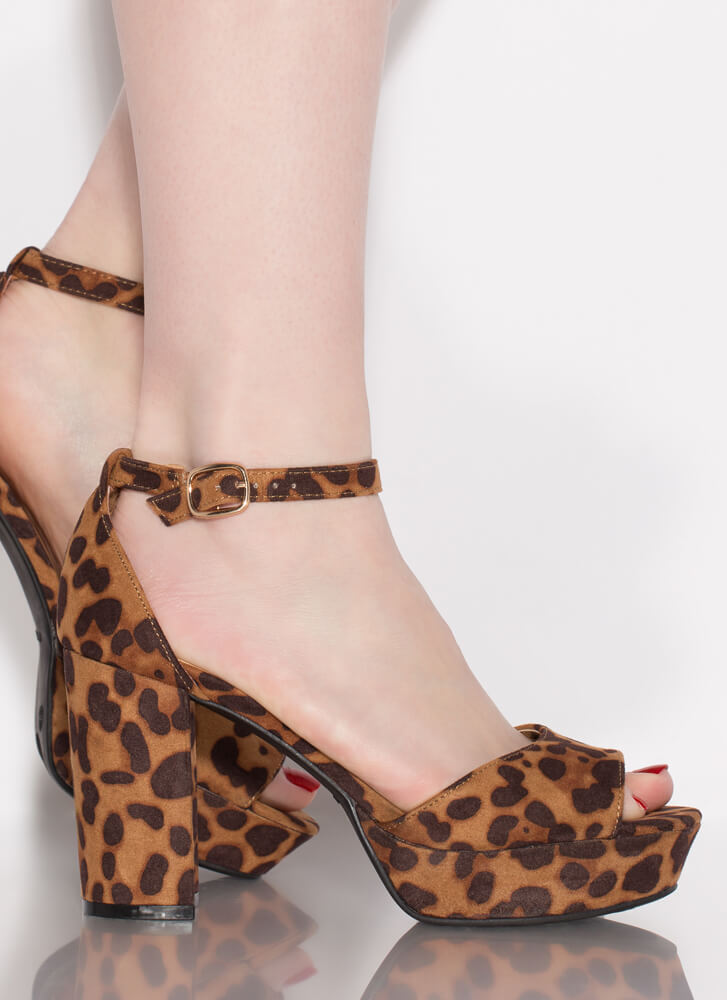 Daily Chunky Faux Suede Platform Heels LEOPARD