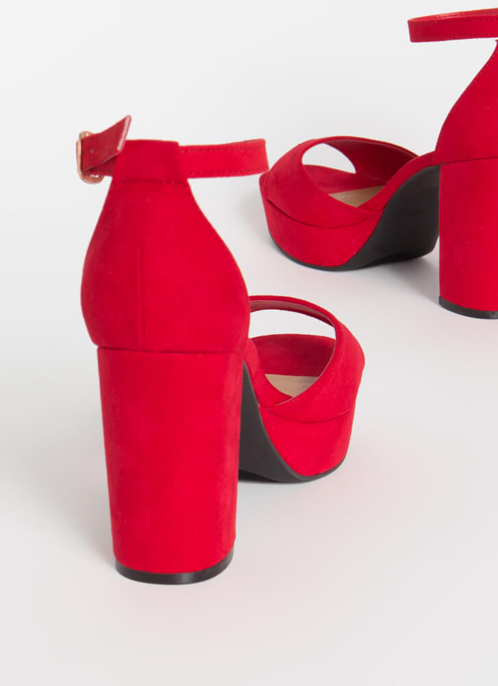 Daily Chunky Faux Suede Platform Heels RED