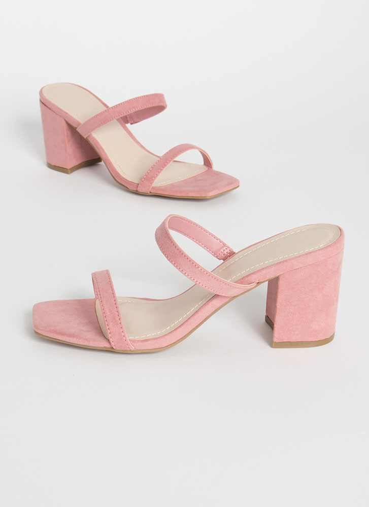 Forever Yours Strapped Block Heels BLUSH