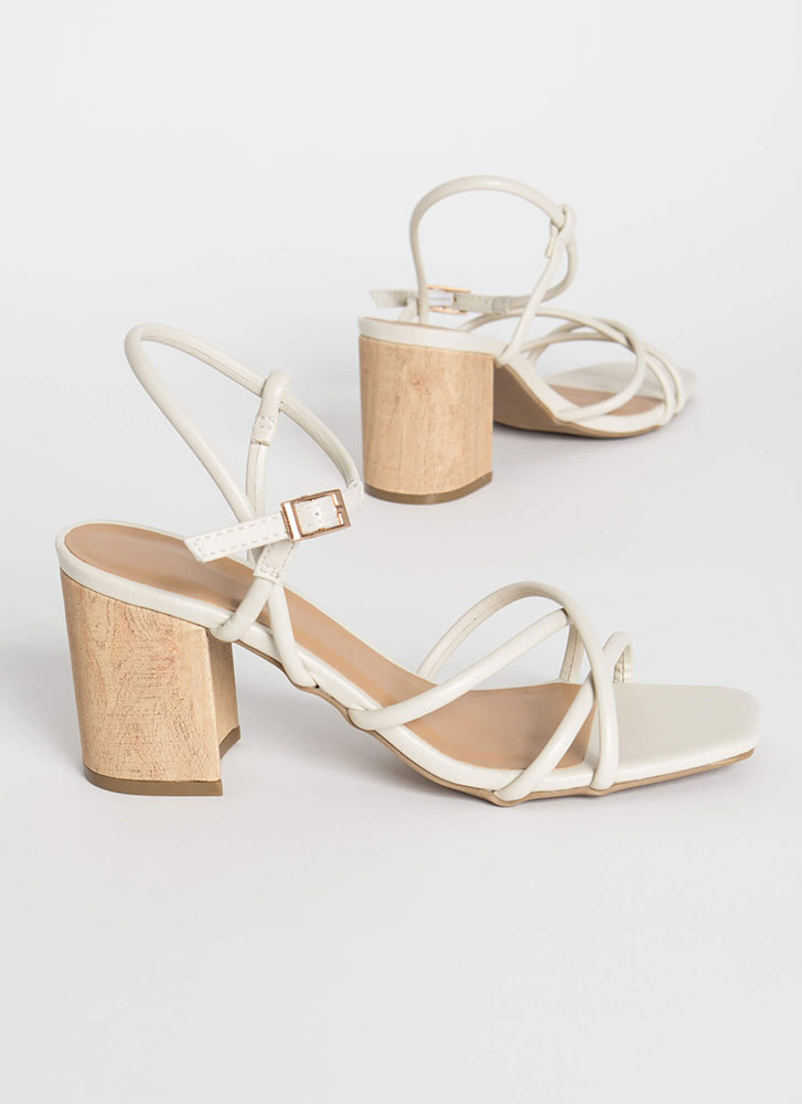 These Wood Work Strappy Block Heels IVORY