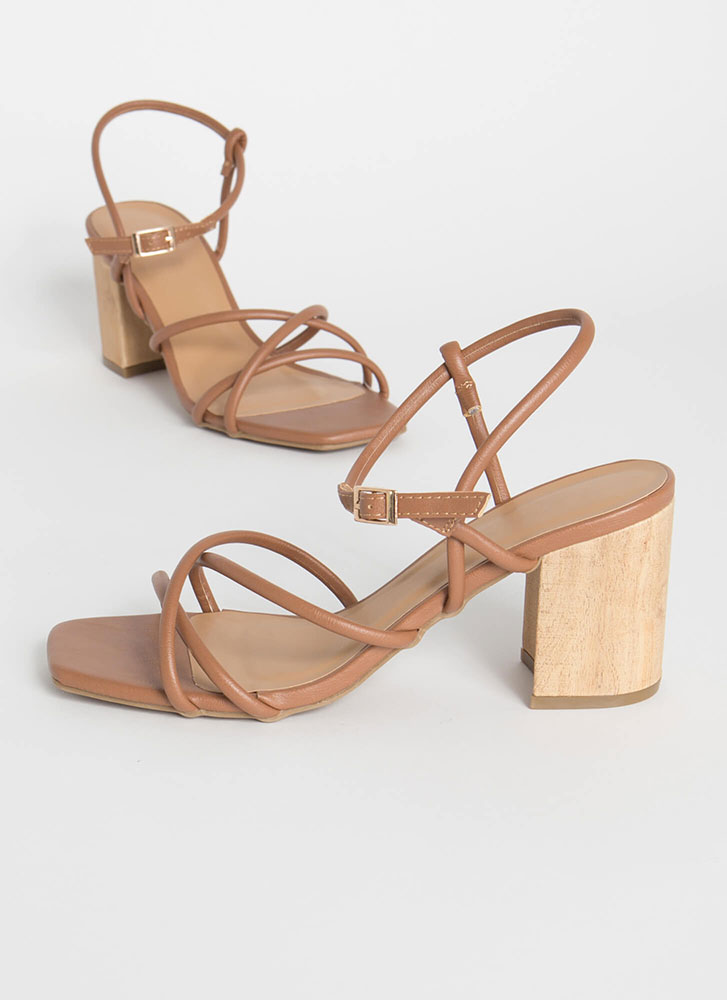 These Wood Work Strappy Block Heels TAN